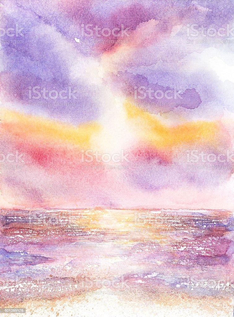 beautiful seascape watercolor painted vector art illustration