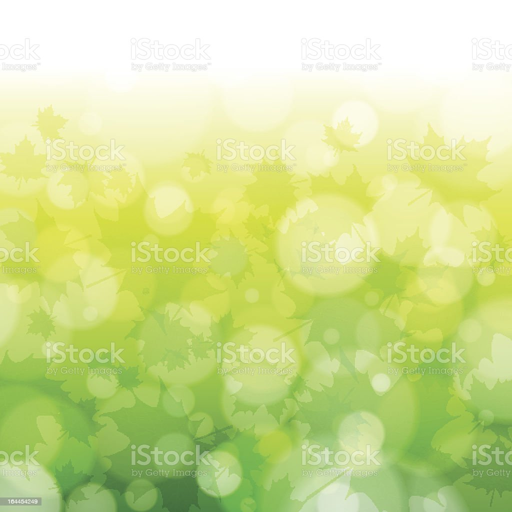 Beautiful spring forest bokeh background with maple leaves royalty-free stock vector art