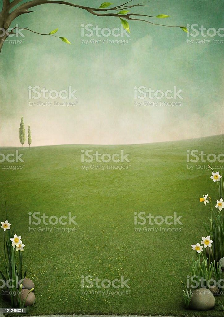 Beautiful spring landscape vector art illustration