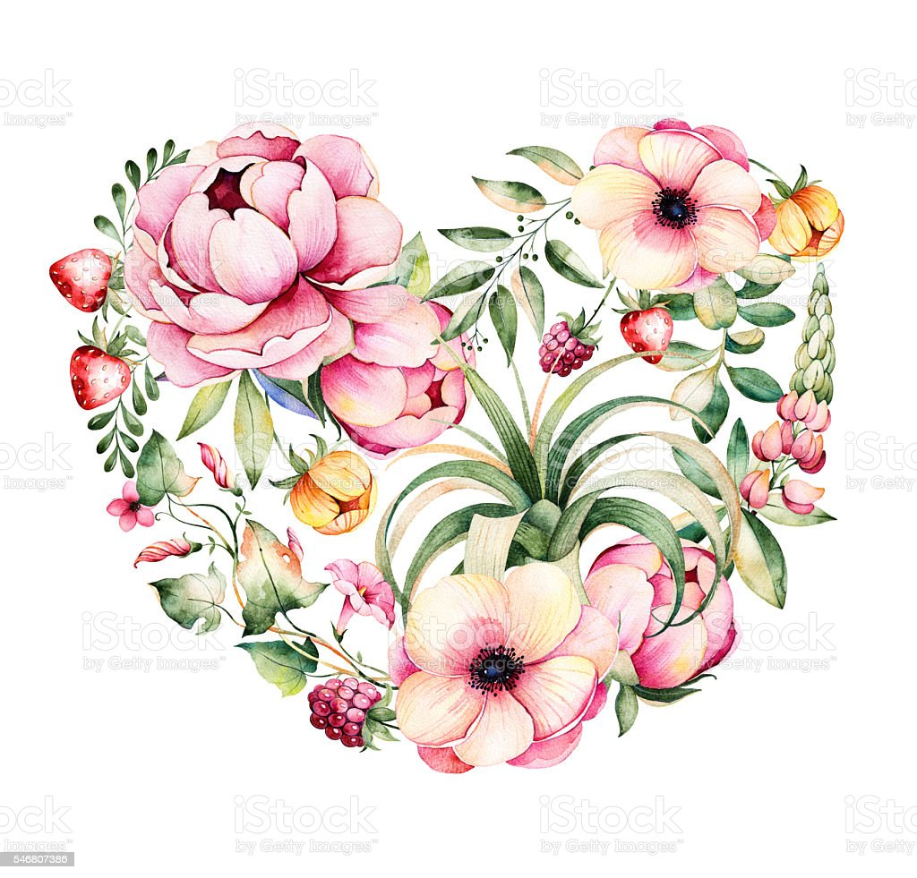 Beautiful template card.Perfect for Happy Valentines Day.Handpainted illustration vector art illustration