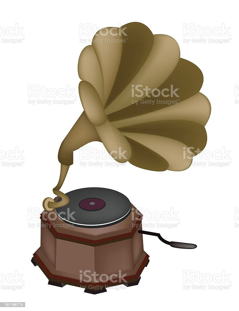 Beautiful Vintage Gramophone on White Background royalty-free stock vector art