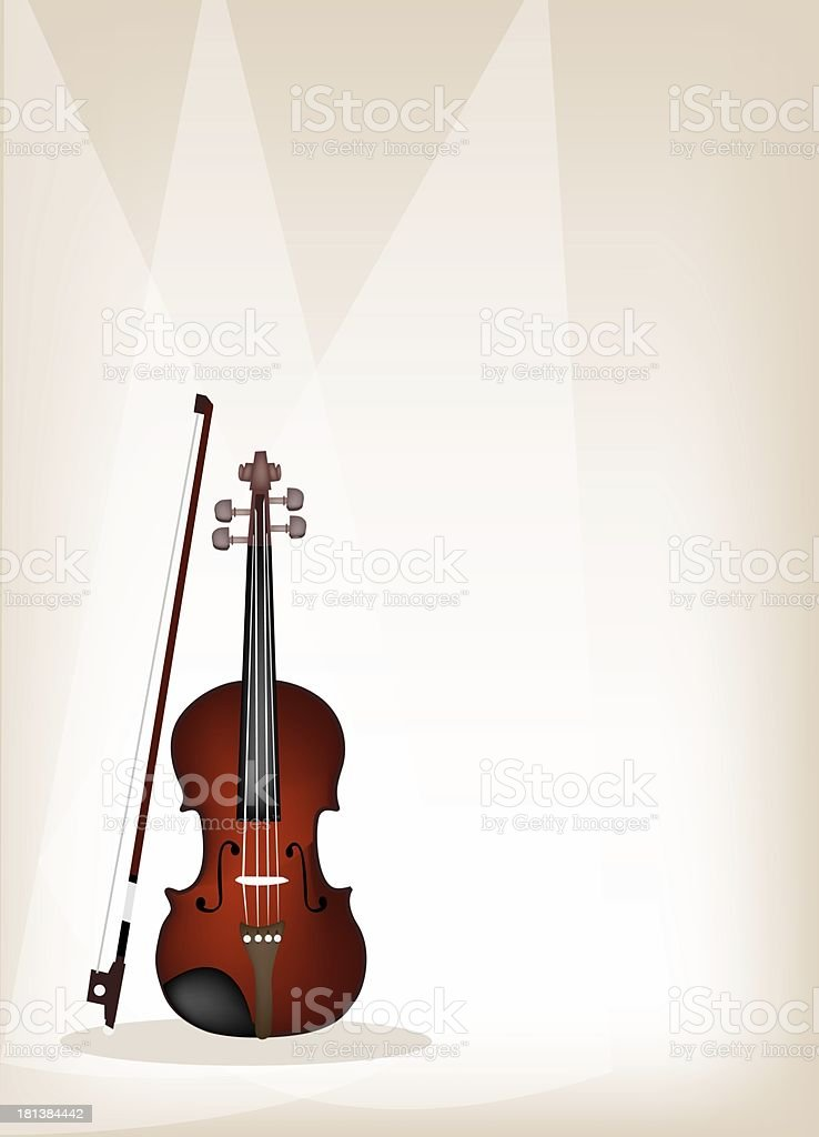 Beautiful Violin on Brown Stage Background royalty-free stock vector art