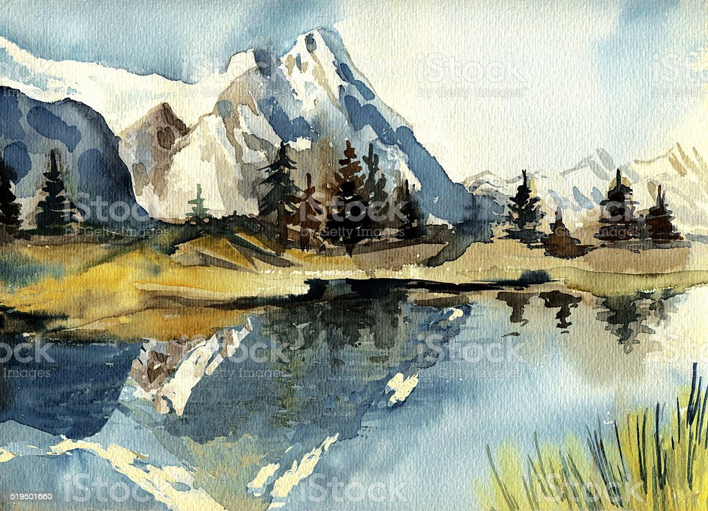 Beautiful watercolor mountain landscape. stock photo