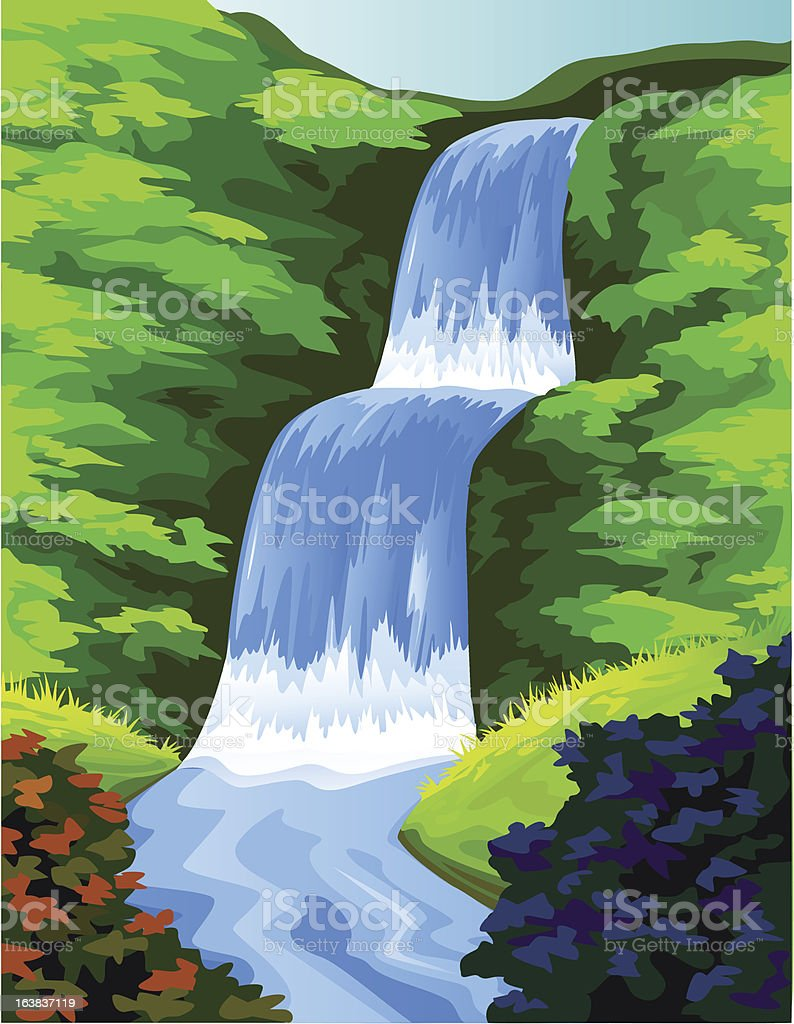 Beautiful waterfall vector art illustration