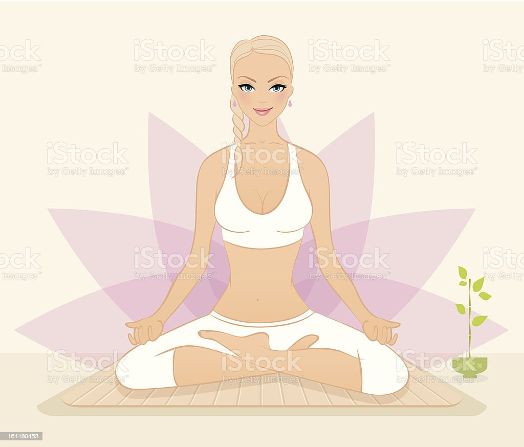 Beautiful woman doing youga exercises royalty-free stock vector art