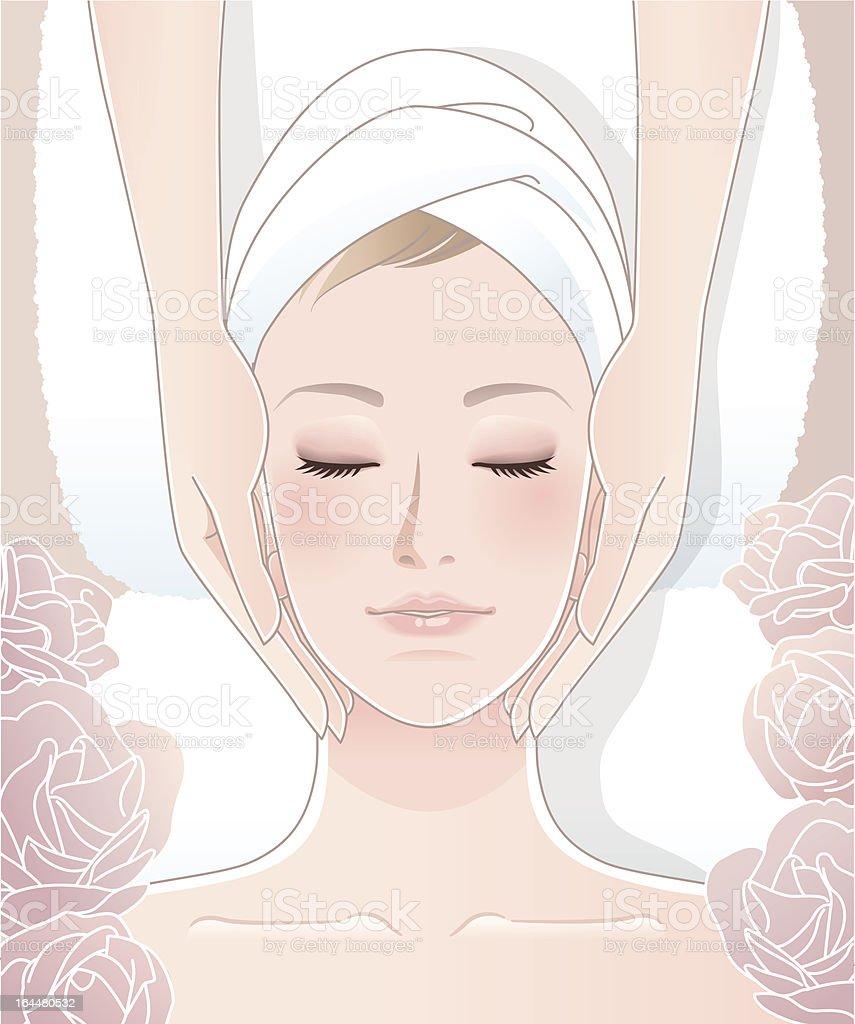 Beautiful woman receiving facial massage vector art illustration