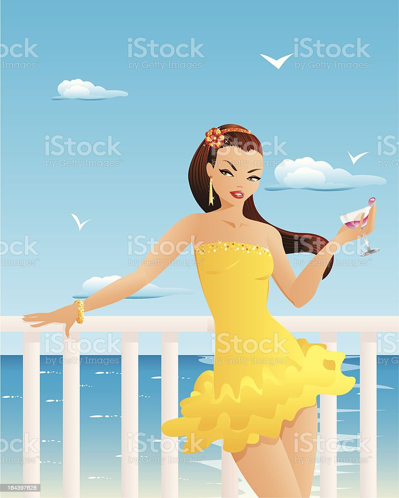 Beautiful woman with cocktail royalty-free stock vector art