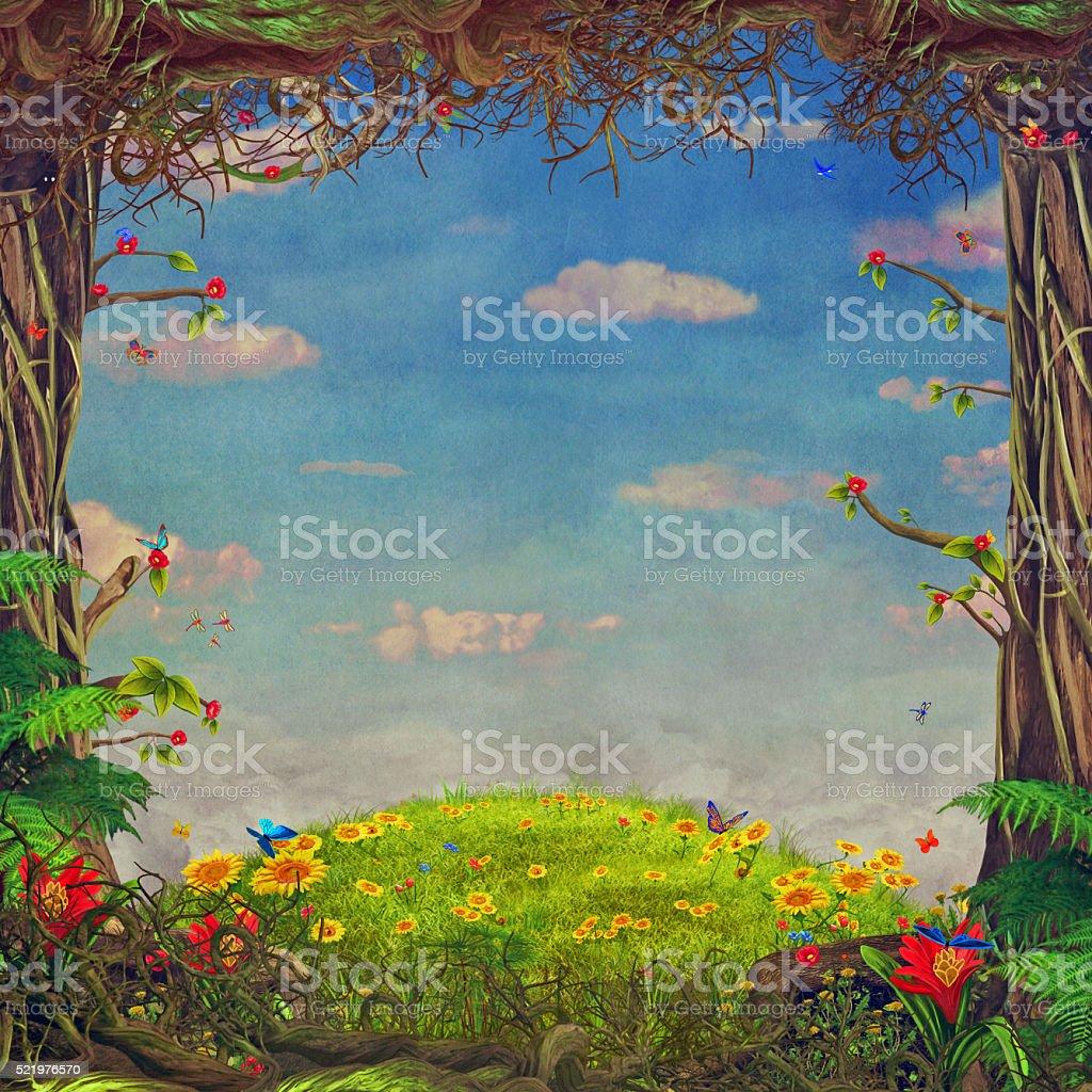Beautiful woodland scene, illustration art vector art illustration