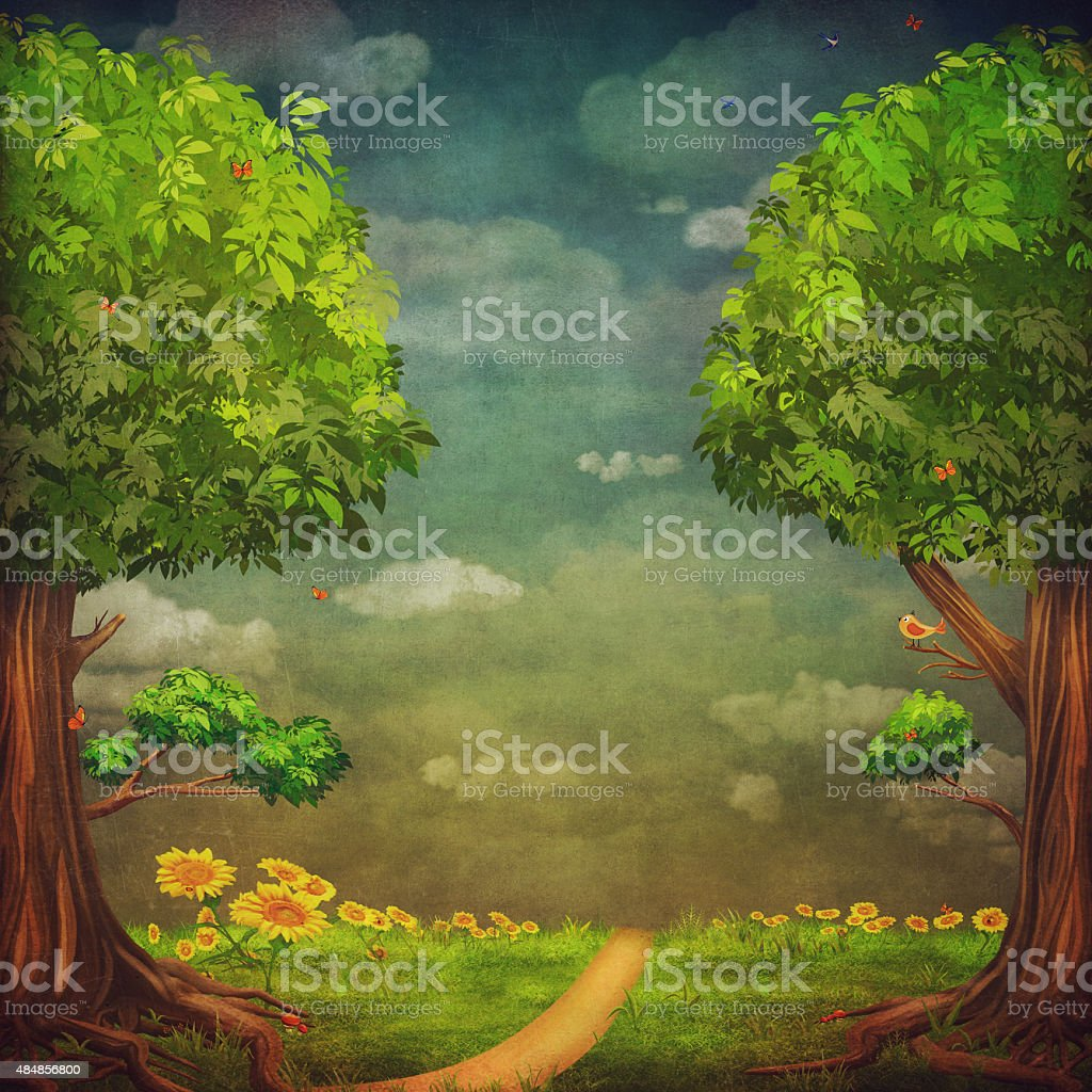 Beautiful woodland scene with trees and sky vector art illustration