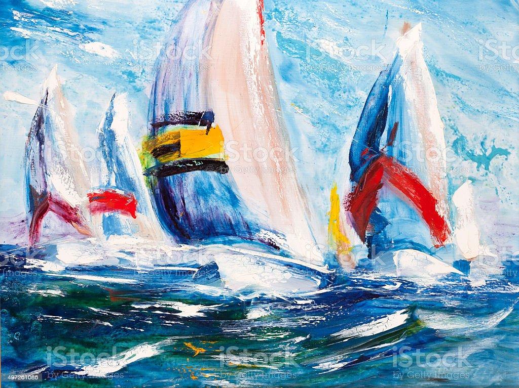 Beautiful yachts. Regatta are starting vector art illustration