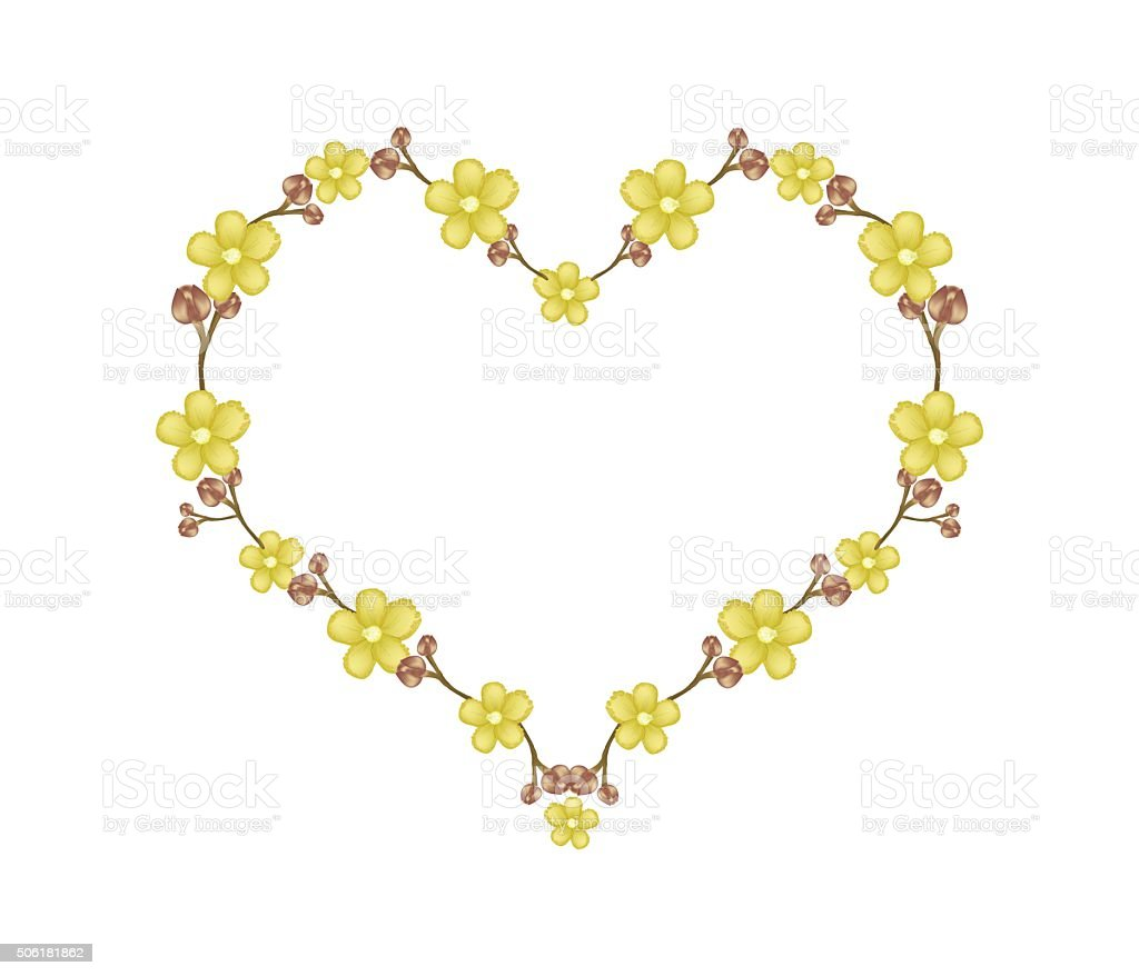 Beautiful Yellow Simpor Flowers in Heart Shape vector art illustration