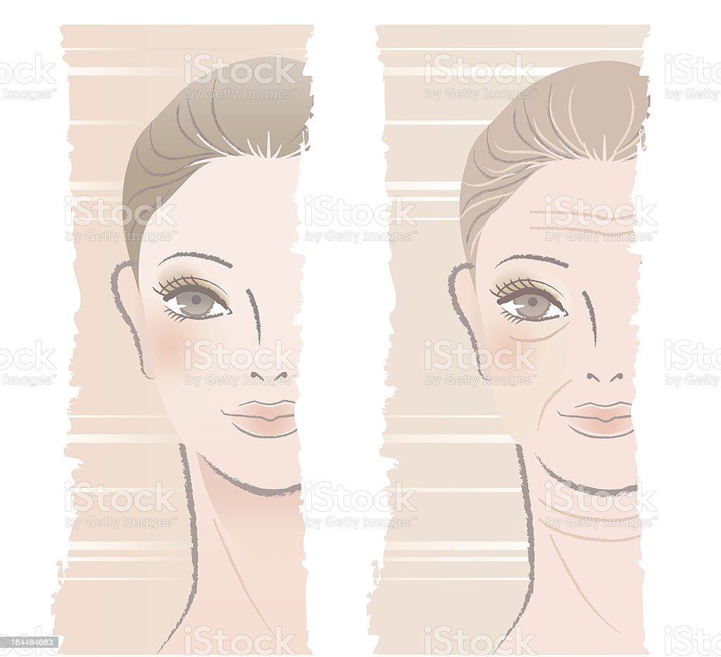 Beautiful young and middle aged woman, juvenescence, aging. vector art illustration