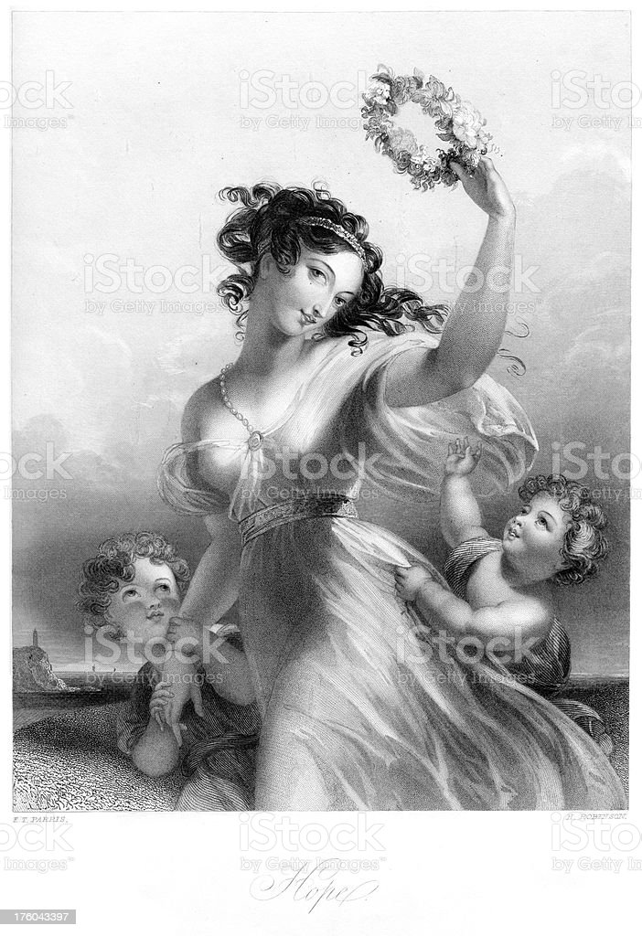 Beautiful Young Victorian Woman - Hope royalty-free stock vector art