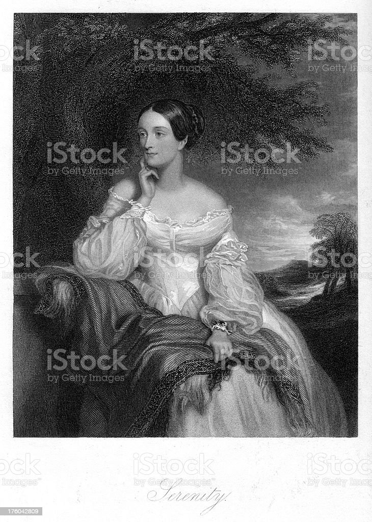 Beautiful Young Victorian Woman - Serenity vector art illustration