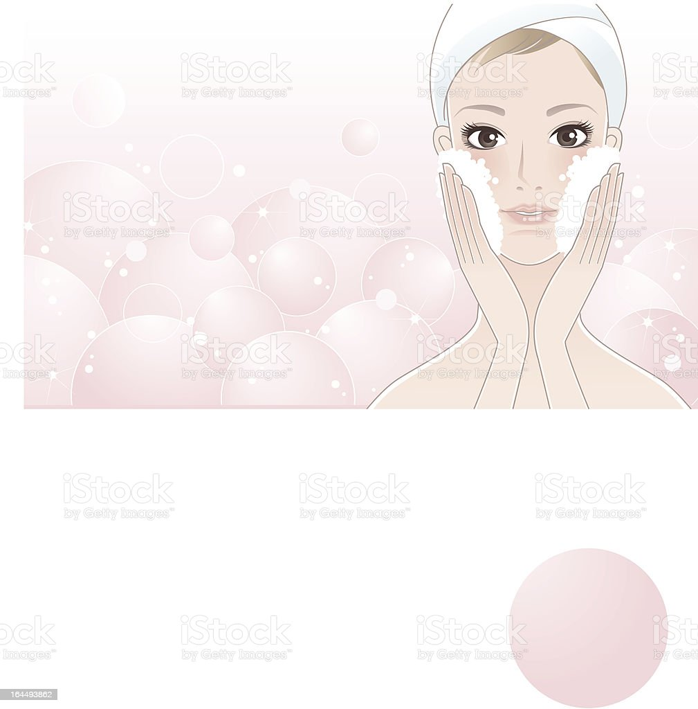 Beautiful young woman washing her face royalty-free stock vector art