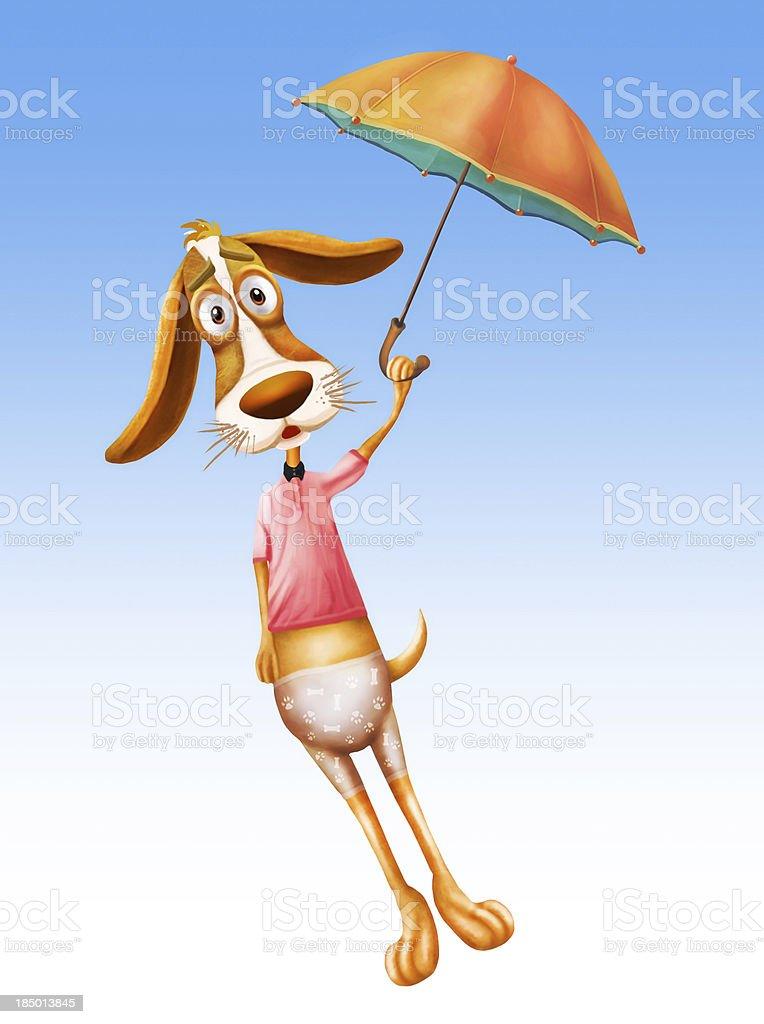 Beauty dog fly with umbrella royalty-free stock vector art