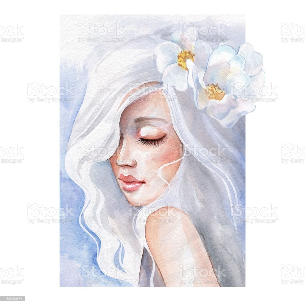 Beauty. Fantasy portrait of a young girl. Watercolor illustration vector art illustration