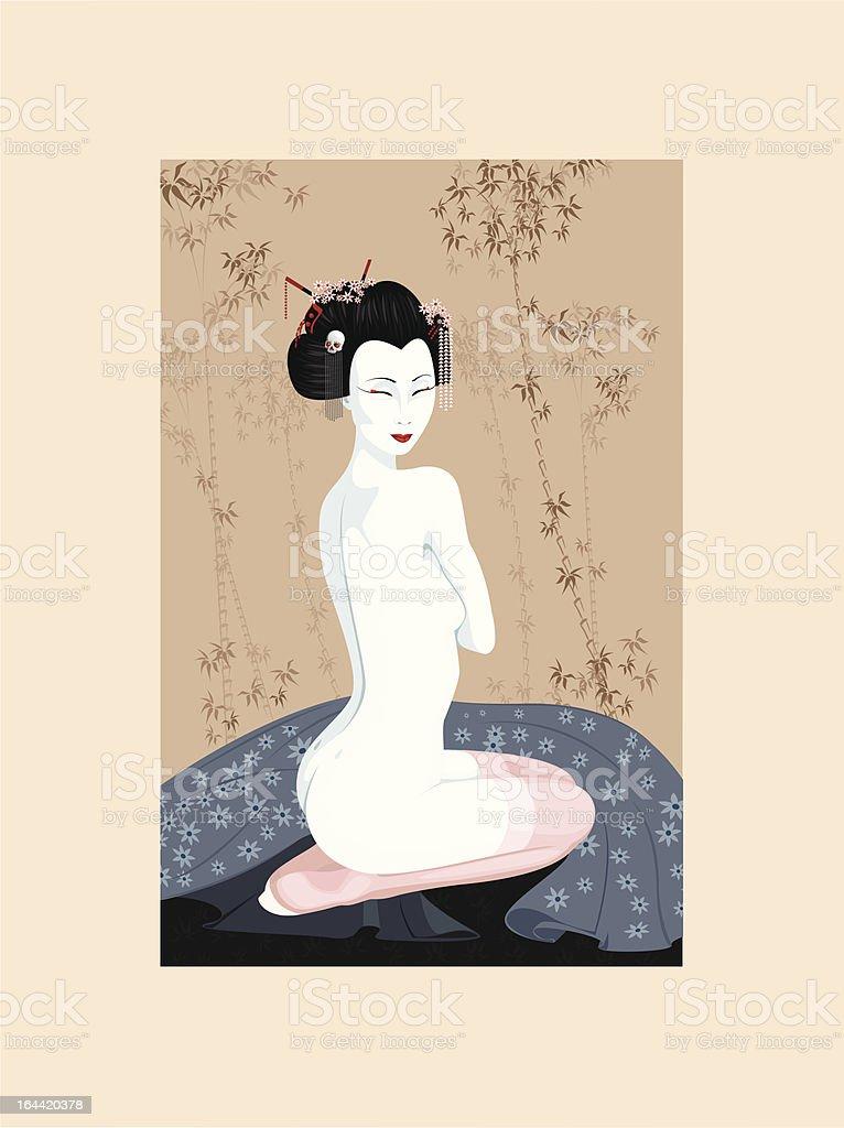 Beauty Geisha girl royalty-free stock vector art