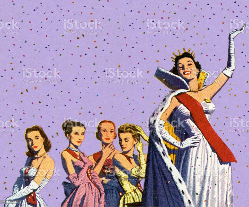 Beauty Queen Waving vector art illustration