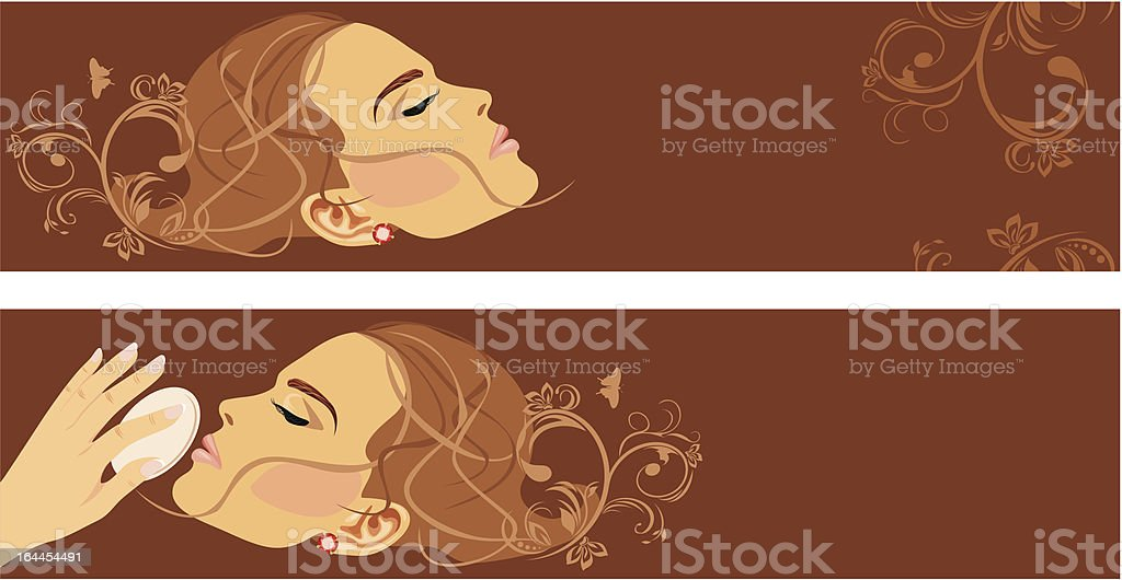 Beauty style. Two decorative banners vector art illustration