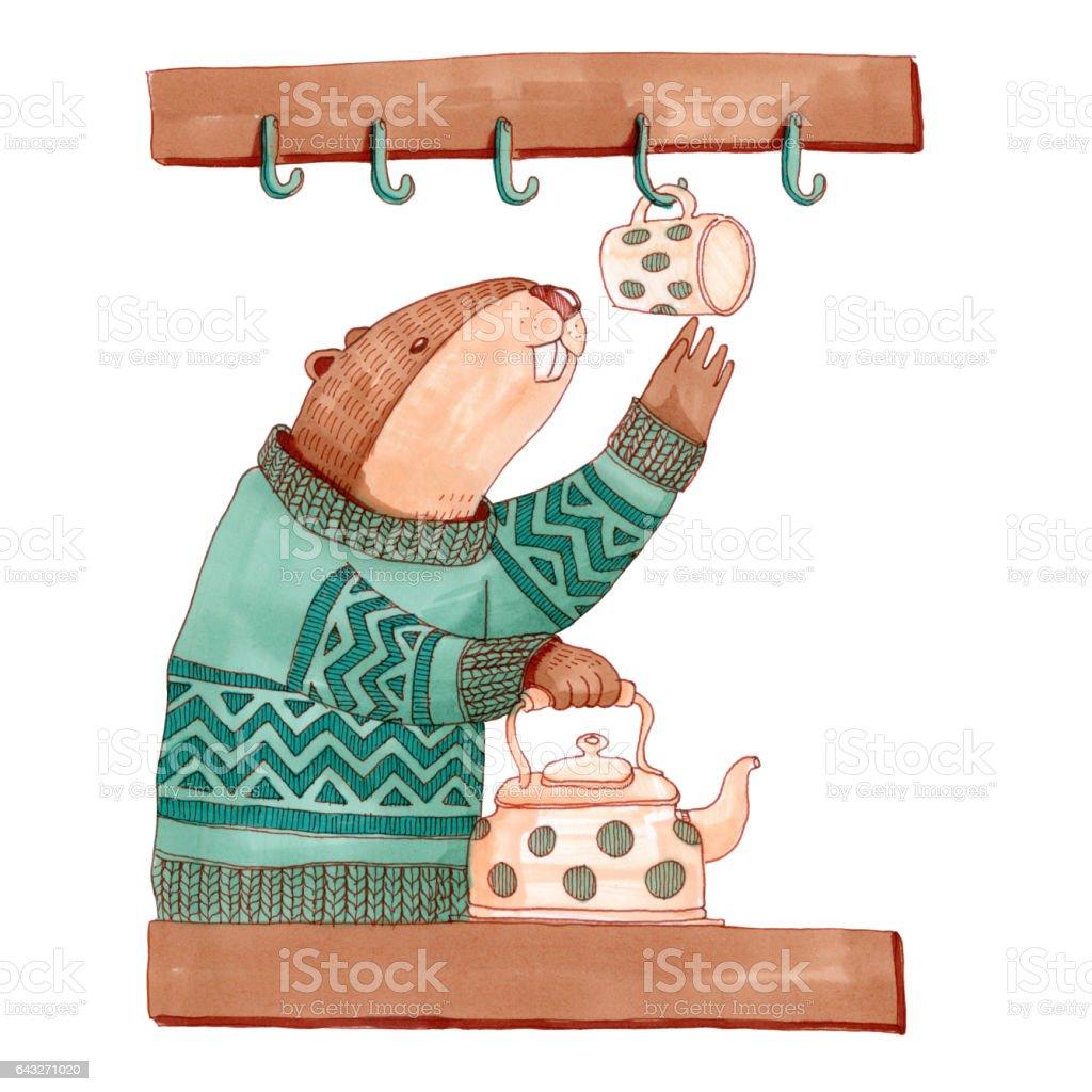 Beaver in sweater in the kitchen making tea vector art illustration