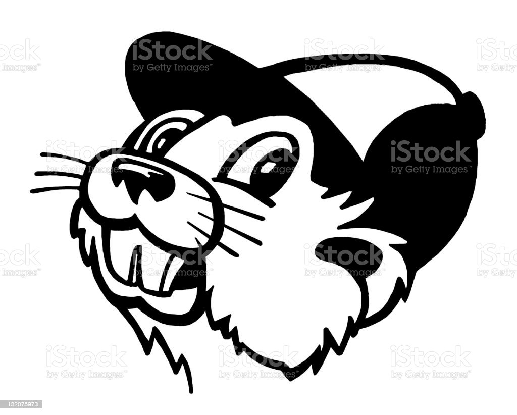 Beaver Wearing Hat royalty-free stock vector art