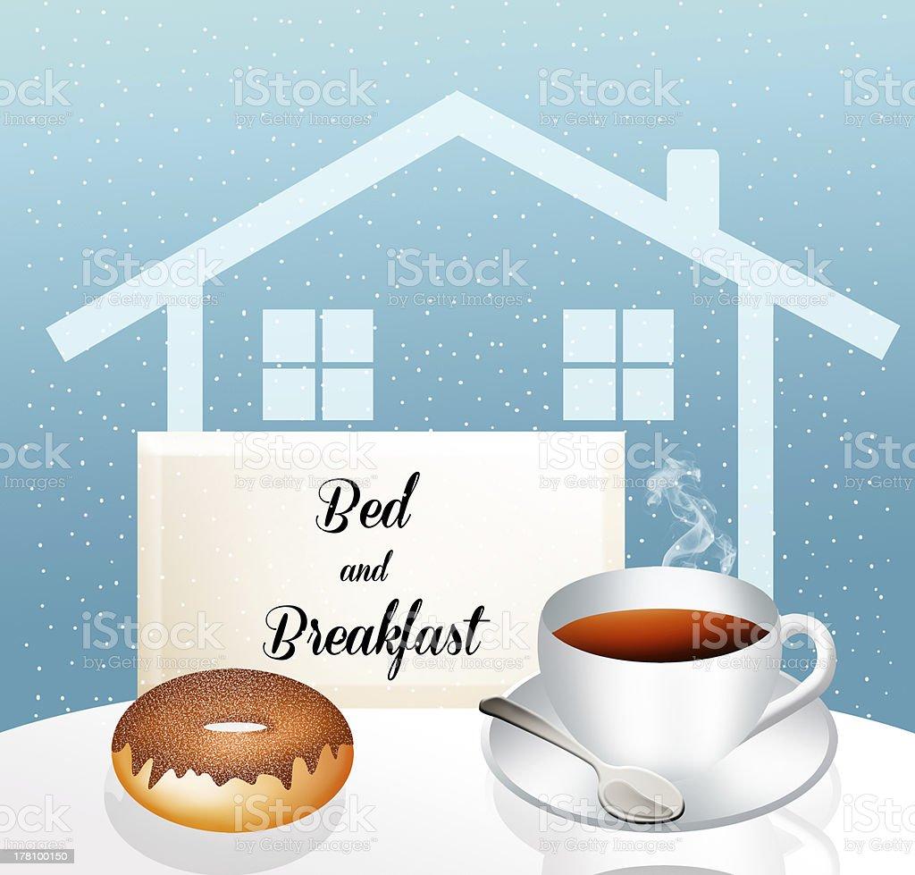 Bed and breakfast vector art illustration