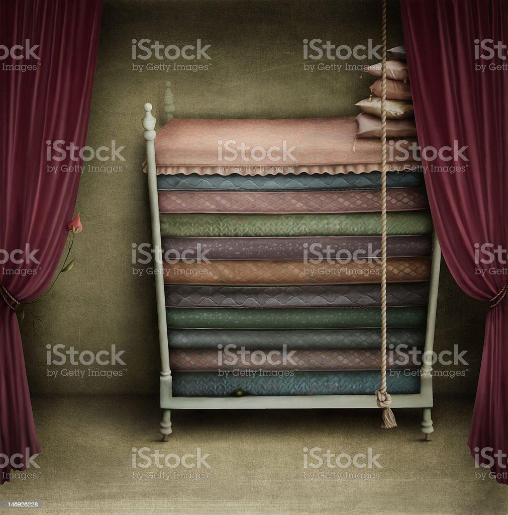Bed Princess vector art illustration