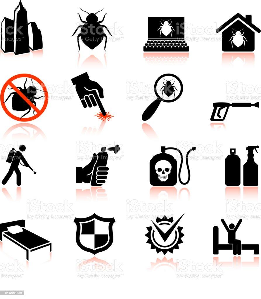 Bedbug epidemic and extermination black & white vector icon set vector art illustration