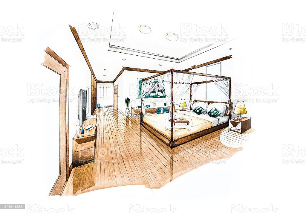 bedroom design of watercolor painting vector art illustration