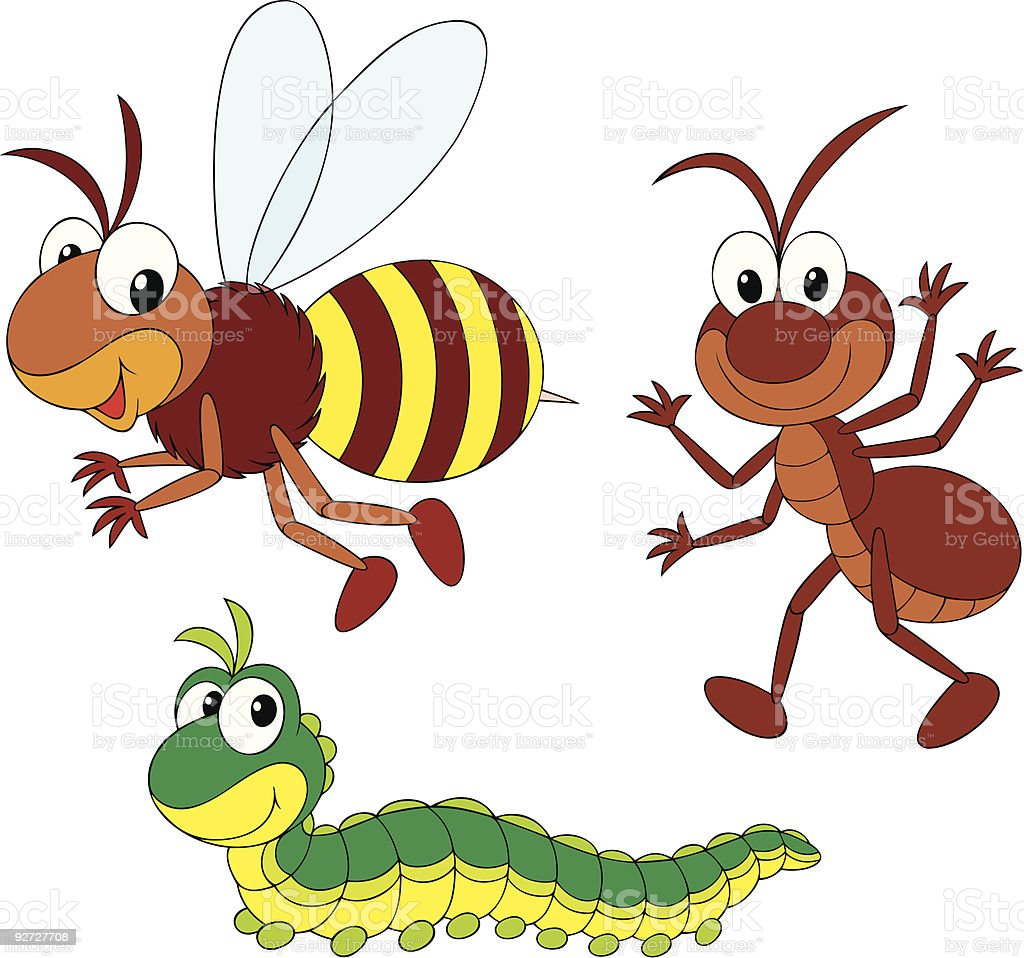 Bee, ant and caterpillar royalty-free stock vector art