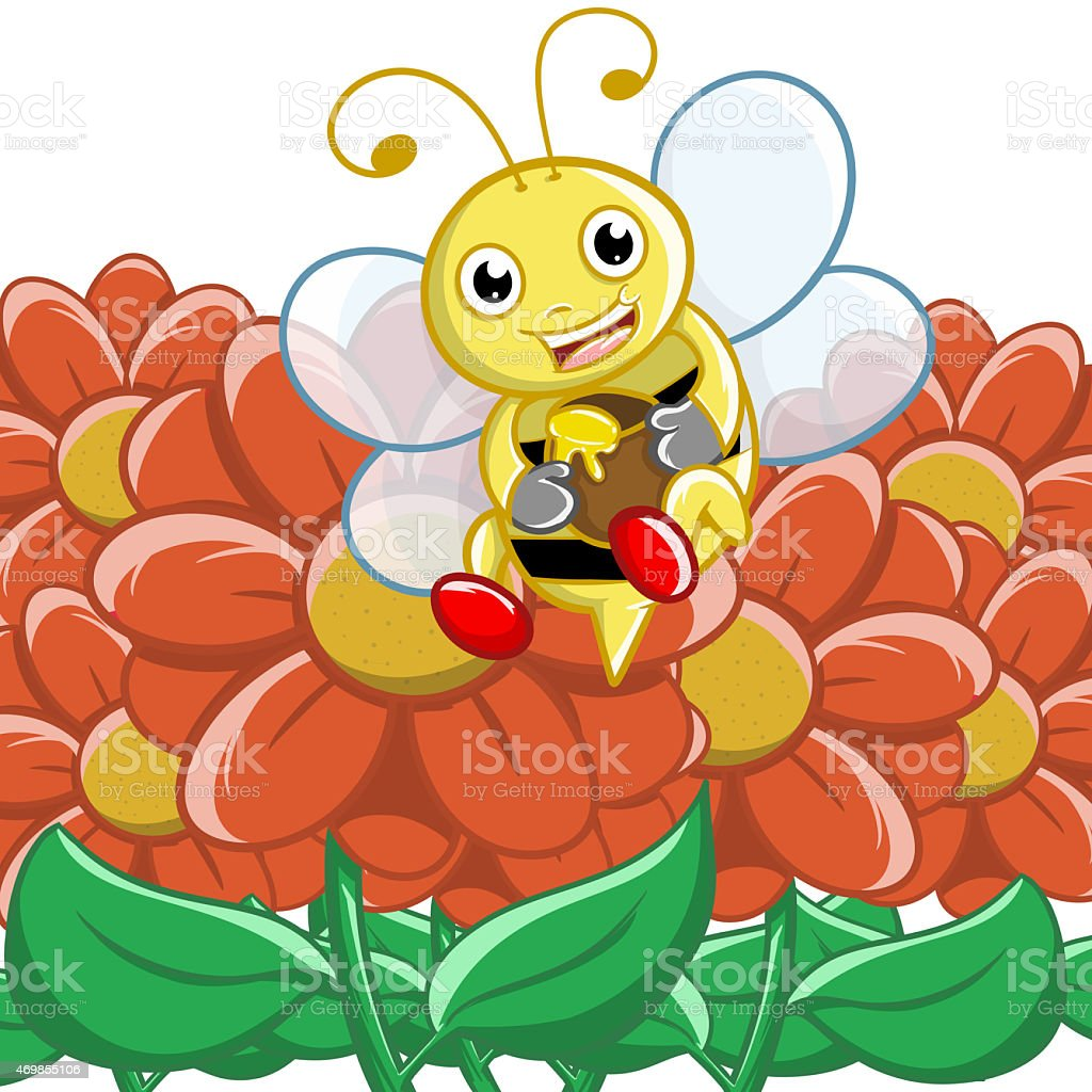 bee in the park vector art illustration