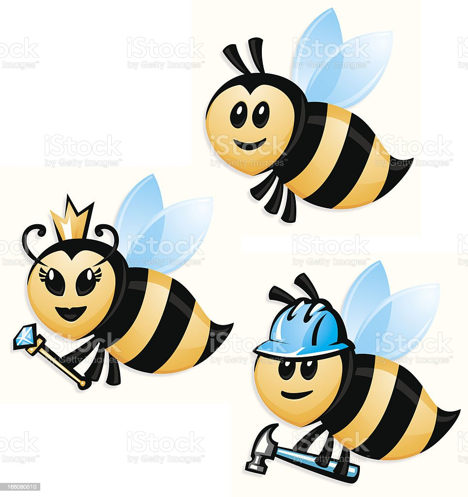 bee set vector art illustration