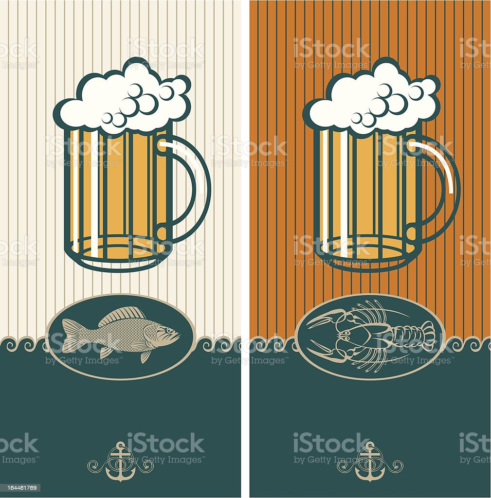 beer and seafood royalty-free stock vector art