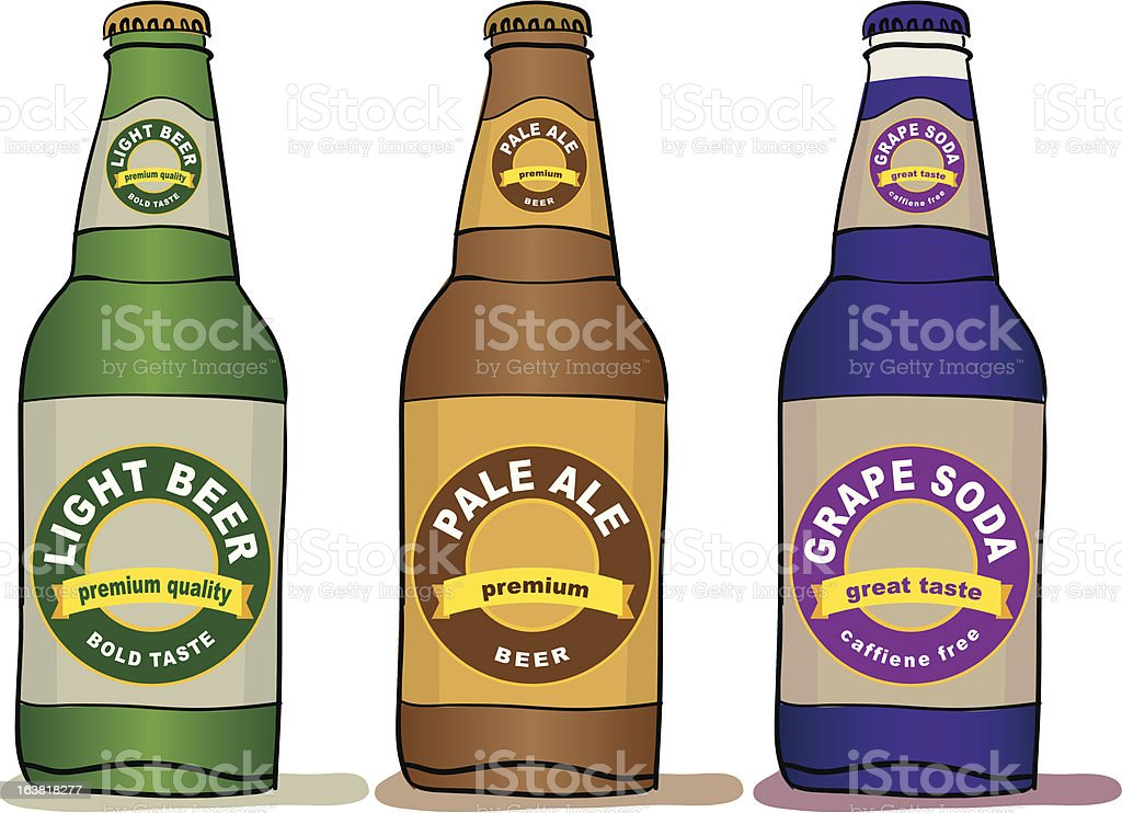 Beer and Soda Bottles royalty-free stock vector art