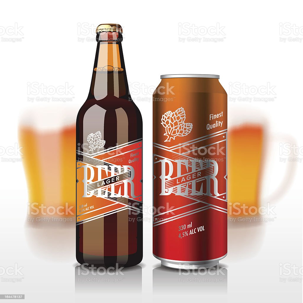 Beer bottle and can vector art illustration
