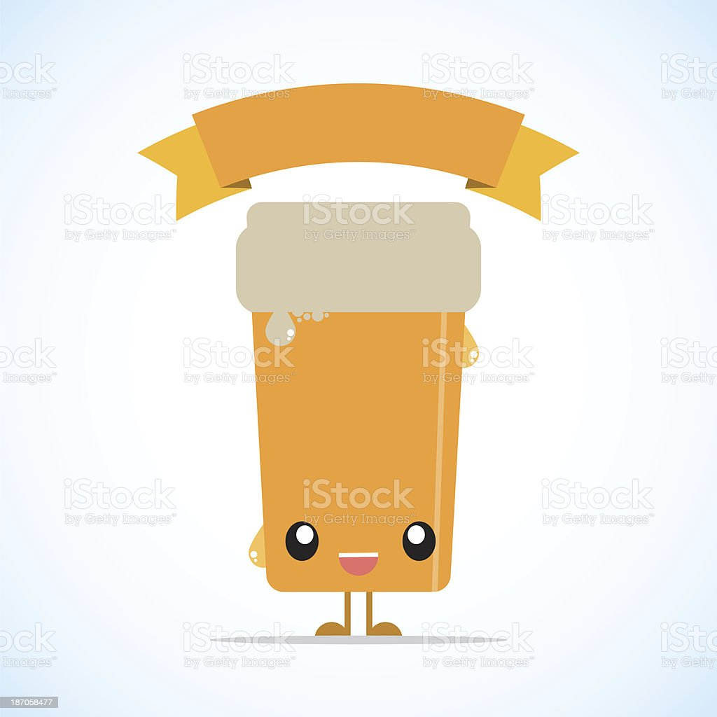Beer character with a banner vector art illustration