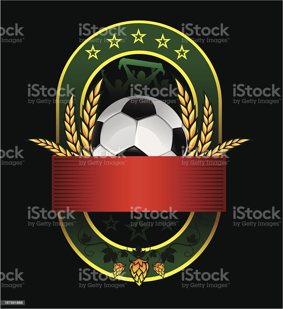 beer green emblem with soccer ball and fans royalty-free stock vector art