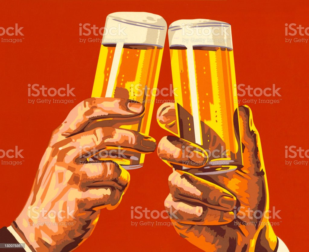 Beer Toast vector art illustration