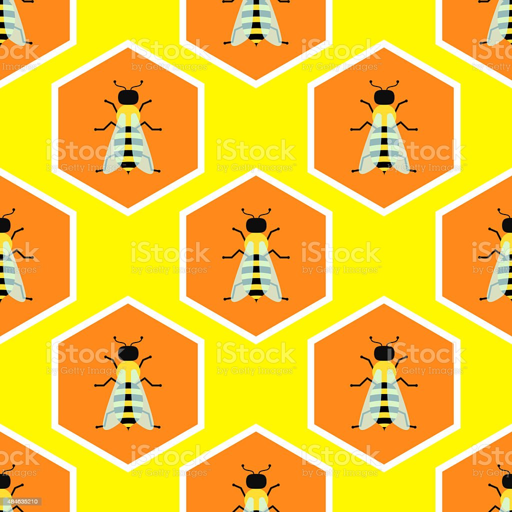 Bees seamless pattern design vector art illustration