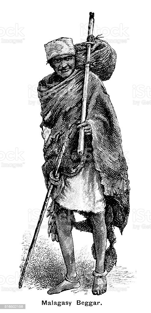 Beggar in Madagascar vector art illustration
