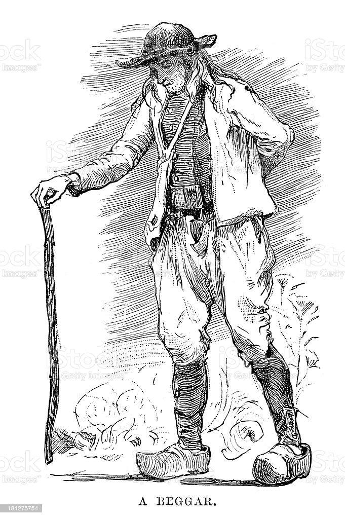 Beggar of Finistere vector art illustration