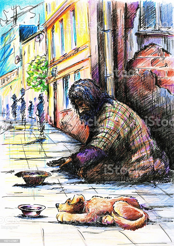 Beggar with dog. royalty-free stock vector art