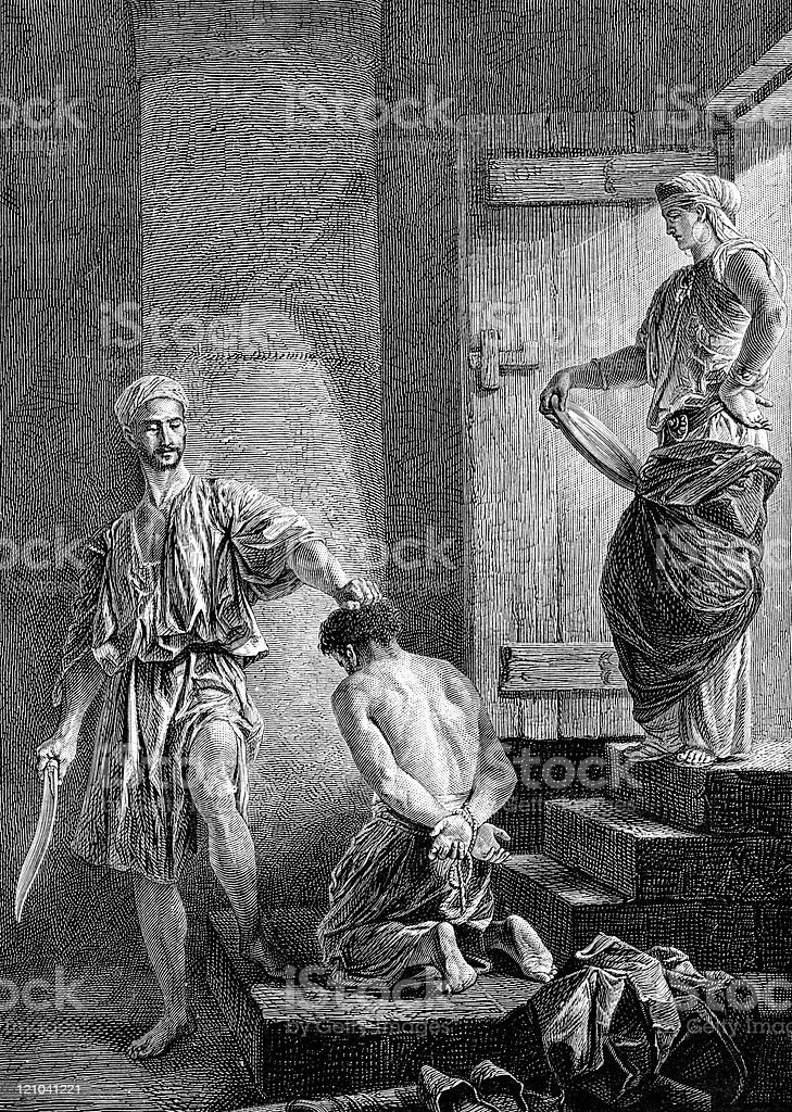 Beheading of John the Baptist in Antique Engraving vector art illustration