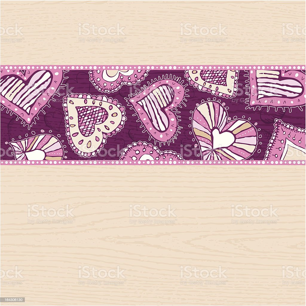 beige background with hand draw  hearts royalty-free stock vector art
