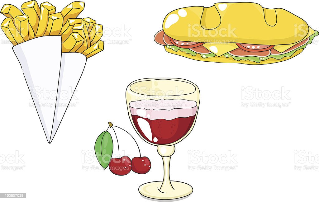 Belgian food: french fries, sandwich, cherry beer. Vector illustration. vector art illustration