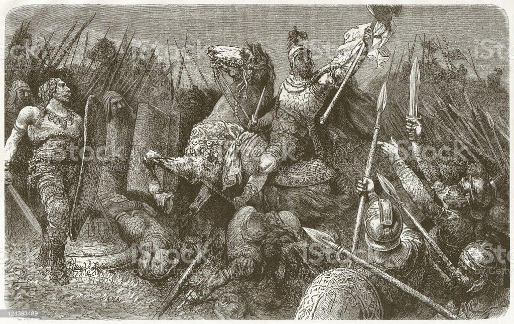 Belisarius (c.505 - 565) in battle against the Goths vector art illustration