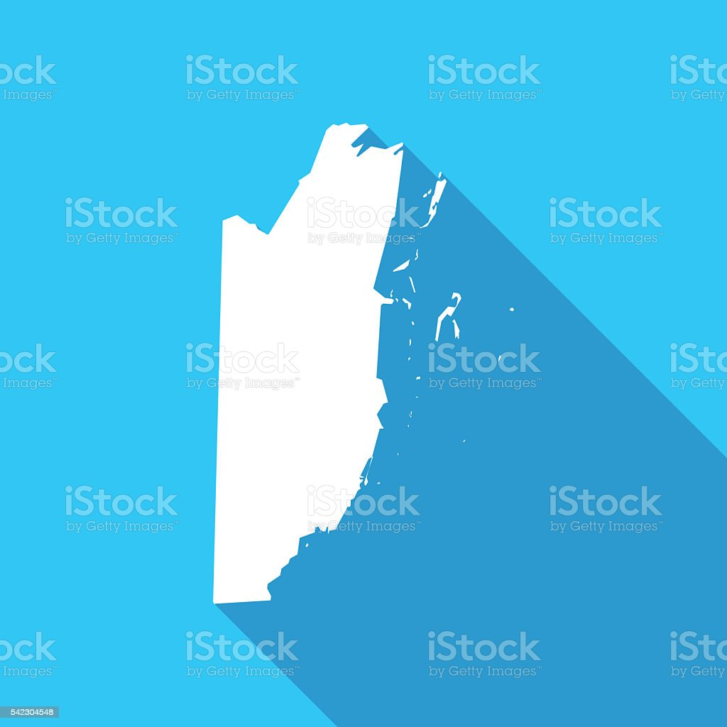 Belize long shadow map in white on a blue background stock photo