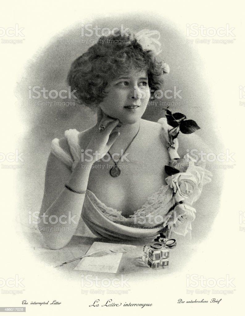 Belle Epoque - The Interrupted Letter 1890 vector art illustration