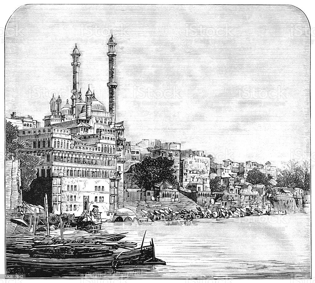Benares, India - Victorian engraving vector art illustration